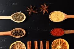 Sammansättning av smaktillsatsen, bästa sikt Träskedar med kryddor arkivbilder