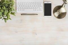 Sammansättning av tangentbordet, telefonen, tabelllampan, växten och bläckpennan arkivfoto