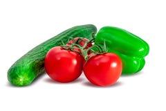 Sammansättning av tomater, gurkan och spansk peppar Fotografering för Bildbyråer