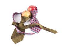 Sammansättning av två röda äpplen och två ties Royaltyfri Fotografi
