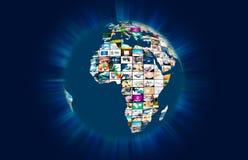 Sammansättning för abstrakt begrepp för jordklot för värld för televisionTV-sändningmultimedia Royaltyfria Bilder