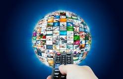 Sammansättning för abstrakt begrepp för sfär för televisionTV-sändningmultimedia Arkivbilder