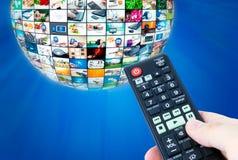 Sammansättning för abstrakt begrepp för sfär för televisionTV-sändningmultimedia Royaltyfria Bilder