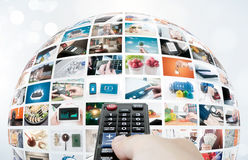 Sammansättning för abstrakt begrepp för sfär för televisionTV-sändningmultimedia Royaltyfri Fotografi