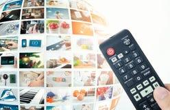 Sammansättning för abstrakt begrepp för sfär för televisionTV-sändningmultimedia Arkivfoto
