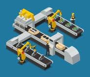 Sammansättning för bilelektronikAutoelectronics isometrisk fabrik vektor illustrationer