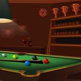 Sammansättning för Billiardbollar på den gröna pöltabellen stock illustrationer