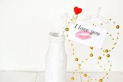 Sammansättning för dag för valentin` s jag älskar dig Arkivfoto