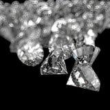 Sammansättning för diamanter 3d på svart Arkivbild