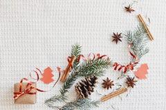 Sammansättning för jul och för nytt år Gåvaasken med bandet, gran förgrena sig med nolla för kotte-, för stjärnaanis, kanel- och  royaltyfria bilder