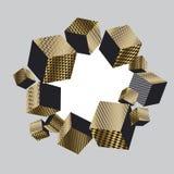 Sammansättning för kuber för illusion för begrepp 3d geometrisk Arkivbilder