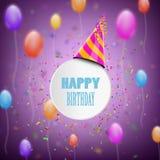 Sammansättning för lycklig födelsedag med suddighetsbakgrund Arkivfoto