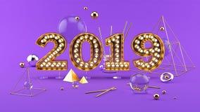 2019 sammansättning för lyckligt nytt år 3D med 2019 guld- ljusa nummer royaltyfria foton