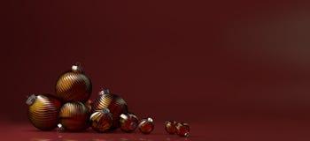Sammansättning för lyckligt nytt år med gruppen av glass leksakgarnering Fotografering för Bildbyråer