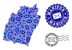 Sammansättning för posttrafik av den mosaiska översikten av Manipur stat- och Grungestämplar vektor illustrationer