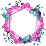 Sammansättning för romantiker för vektor blom- rosa och purpurfärgad, Moderiktiga blommor, suckulent, sidor, grönska Sommar vår,  stock illustrationer