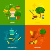 Sammansättning för symboler för lägenhet för grönsakträdgård Royaltyfria Bilder
