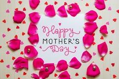 Sammansättning för tappning för dag för moder` s av hälsninganmärkningen med hand dragen bokstäver Royaltyfria Foton