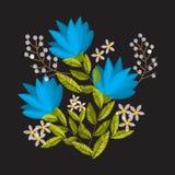 Sammansättning för tappningbroderiblomma för dekor Royaltyfri Fotografi