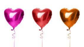 Sammansättning för tre objekt för apelsin och för lilor för stor hjärtaballonger isolerade röda för födelsedag arkivfoton