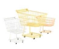 Sammansättning för tre shoppingvagnar Arkivbilder