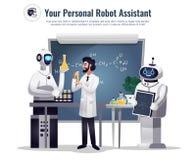 Sammansättning för vetenskaplig forskning för robotar stock illustrationer