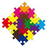 Sammansättning från färgar pussel. Vektorillustration Stock Illustrationer