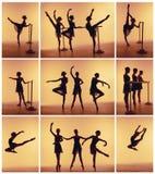 Sammansättning från konturer av tre unga dansare i balett poserar på en orange bakgrund Royaltyfri Fotografi