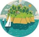 Sammansättning i en cirkel med ett sommarhavslandskap på en solig dag, stock illustrationer