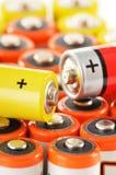 Sammansättning med alkaline batterier Kemikalieavfalls Royaltyfria Foton