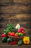 Sammansättning med blandade rå organiska grönsaker och frukter Arkivbilder