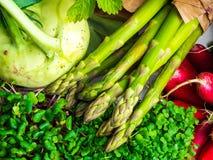 Sammansättning med blandade rå organiska grönsaker och microgreens, slut upp arkivfoton