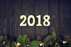 Sammansättning med den dekorerade julgranen och numrerar 2017 som ett s Fotografering för Bildbyråer