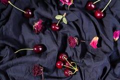 Sammansättning med den mogna söta körsbäret och torra rosor över på svart f royaltyfria bilder