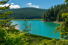 Sammansättning med den svarta sjön Arkivbilder