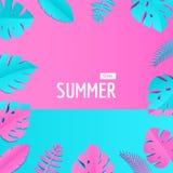 Sammansättning med idérika sidor för rosa färgblåttdjungel i papperssnittstil Tropisk bladram, mall för designaffisch stock illustrationer