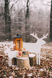 Sammansättning med julgåvor i skogen royaltyfri foto