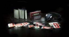 Sammansättning med kassetter och spelaren Fotografering för Bildbyråer