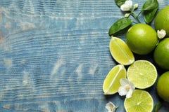 Sammansättning med nya mogna limefrukter Fotografering för Bildbyråer