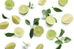 Sammansättning med nya mogna limefrukter Royaltyfri Foto