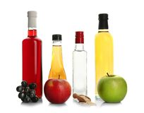 Sammansättning med olika sorter av vinäger arkivfoton