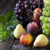 Sammansättning med smakliga frukter Arkivfoton