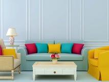 Sammansättning med sofaen och fåtöljer Arkivbild