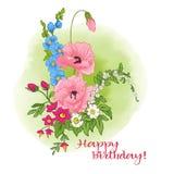 Sammansättning med sommarblommor: vallmo påsklilja, anemon, viole royaltyfri illustrationer