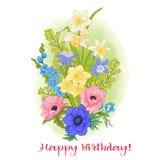 Sammansättning med sommarblommor: vallmo påsklilja, anemon, viole stock illustrationer