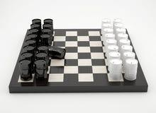Sammansättning med trummor på schackbrädet Royaltyfri Fotografi