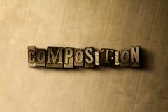 SAMMANSÄTTNING - närbild av det typsatta ordet för grungy tappning på metallbakgrunden stock illustrationer
