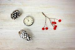 Sammansättning röda bär en retro klocka och sörjer kottar på en vit trätabell Fotografering för Bildbyråer