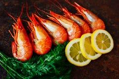 Sammansättningen av räka- och krabbaköttet med citronen och örter Royaltyfri Bild