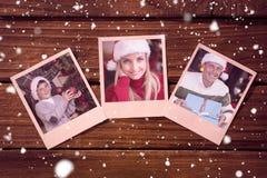 Sammansatt bild av ögonblickliga foto på trägolv Fotografering för Bildbyråer